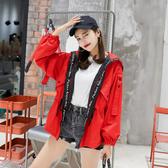 外套女春秋季2019新款潮韓版中長款褂子學生寬鬆原宿矮個子風衣 ☸mousika