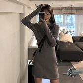 連身裙女裝收腰顯瘦短裙氣質修身洋裝【邻家小鎮】