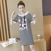 2018夏季新款純棉貼布印花T恤女短袖中長款寬松大碼條紋連帽T恤裙