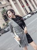 正韓時尚名媛氣質拼接格紋長袖顯瘦闊腿連身褲女潮  魔法鞋櫃