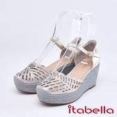 itabella.舒適水鑽羊皮楔型涼鞋(9219-21銀色)