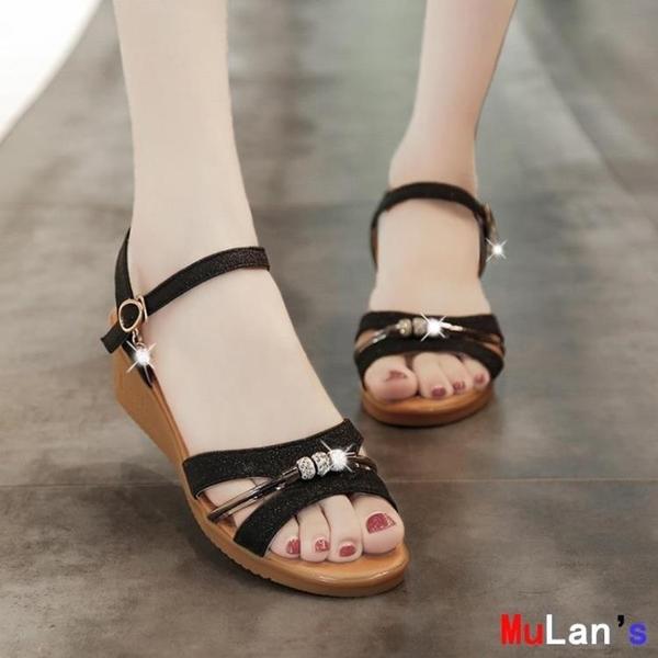 【伊人閣】楔形涼鞋 涼鞋 坡跟 中跟 時尚 羅馬 平底 女鞋