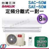 【信源】8坪 SUNLUX台灣三洋定頻分離式一對一SAC-50M+SAE-50M  含標準安裝