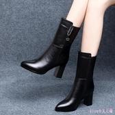 粗跟中筒靴2019新款皮面小短靴女英倫風時尚馬丁靴粗跟高跟鞋 XN7838【Rose中大尺碼】