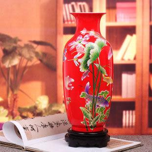 景德鎮陶瓷器 紅冬瓜瓶