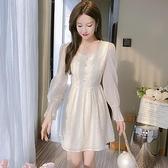 洋裝連身裙甜美S-2XL新款法國小眾小個子洋氣長袖中長款A字裙T613-1067.胖胖唯依