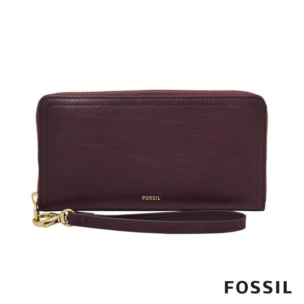 FOSSIL LOGAN 真皮系列RFID拉鍊零錢袋長夾-無花果紫紅色