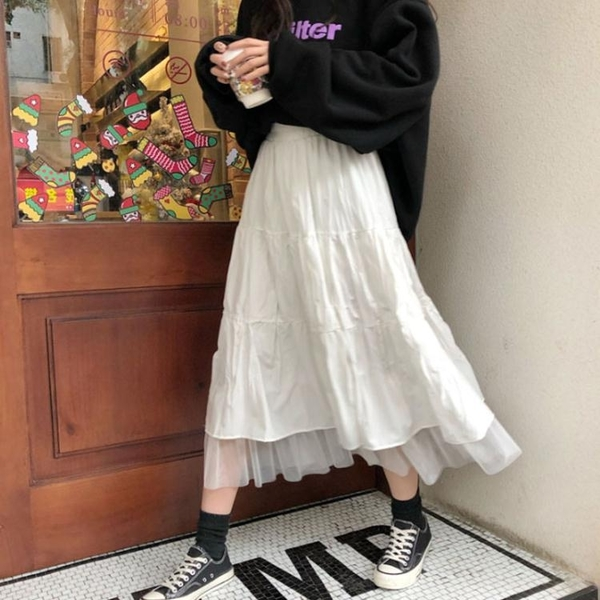 紗裙 白色百摺半身裙中長款女2021年夏季新款高腰a字顯瘦百搭網紗短裙 韓國時尚週 免運