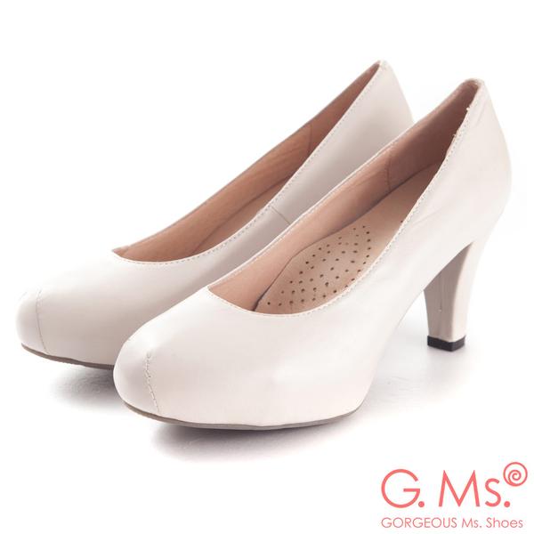 G.Ms.*  推薦通勤鞋‧靜音鞋跟真皮厚底粗跟包鞋‧杏米