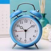 【時光冰藍】出口日韓可愛金屬鬧鐘創意靜音夜燈4寸