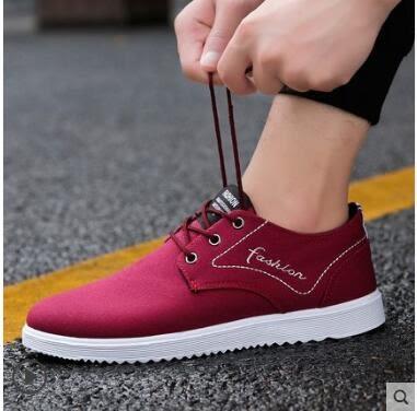 夏季透氣男鞋子男士休閑防滑板鞋帆布鞋男跑步運動鞋韓版百搭潮鞋