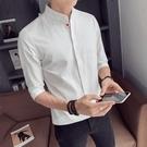 夏季白7七分袖襯衫男士短袖修身潮流帥氣立領百搭中袖襯衣服 快速出貨
