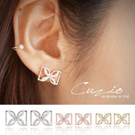 女神簍空雙D型水鑽耳環 CUZIO