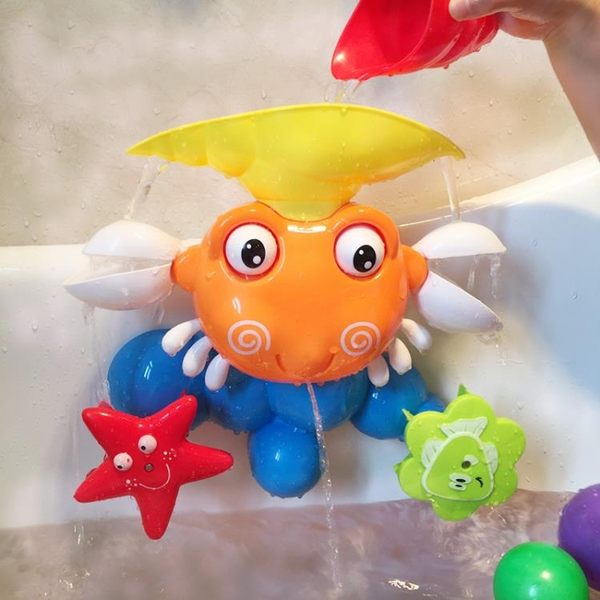 兒童寶寶洗澡玩具手動大螃蟹水龍頭花灑戲水噴水花灑浴室玩具