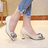 粗跟高跟鞋 2018秋新款蝴蝶結尖頭單鞋中跟溫柔鞋 BF8327『寶貝兒童裝』
