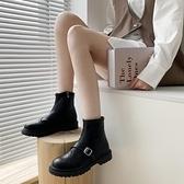 馬丁靴女2020年新款低幫小眾百搭圓頭顯腳小英倫風chic法式小短靴