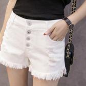 白色牛仔短褲女夏高腰排扣寬鬆學生破洞毛邊闊腿褲子 巴黎時尚