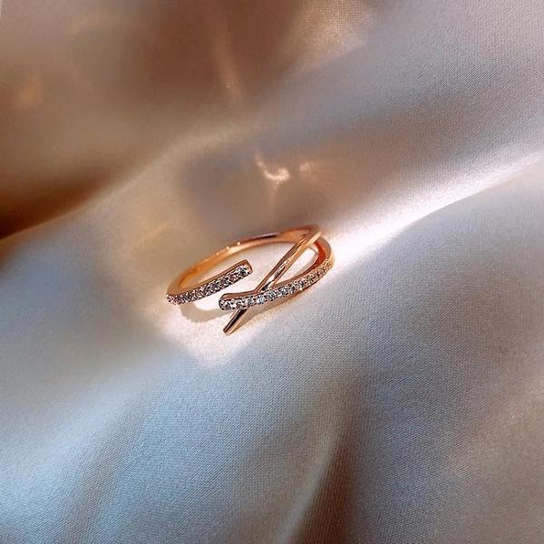簡約交叉戒指女時尚日系輕奢指環開口戒食指【倪醬小舖】