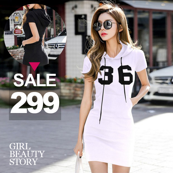 SISI【D8112】現貨休閒時尚運動風百搭輕鬆連帽抽繩短袖修身顯瘦帽T連身裙洋裝