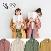 Queen Shop【02071090】雙口袋造型前短後長外套 四色售*現+預*