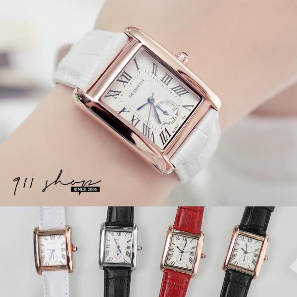 方形羅馬數字鱷魚紋皮革錶帶手錶