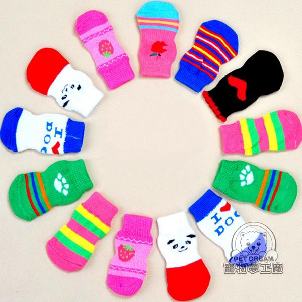 貓狗 襪子 套腳 底部具止滑功能 S-L 貓襪子 狗襪子 狗鞋子 家中椅腳等也都可套-寵物夢工廠