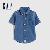 Gap男幼童 復古純棉牛仔短袖襯衫 857943-中度水洗