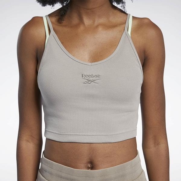 REEBOK CL STRAPPY RIB 女裝 背心 訓練 休閒 細肩帶 羅紋 針織 棉質 卡其【運動世界】GJ4895