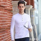 POLO衫 新款男士長袖T恤立領上衣紐扣裝飾時尚韓版修身服裝純色 df3996【大尺碼女王】