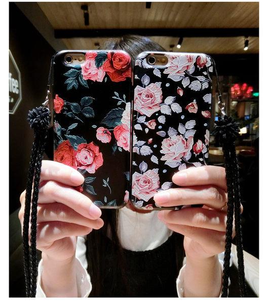 花朵 碎花 彩繪 玫瑰 立體浮雕 iphone6 iphone7 手機殼 plus 軟殼 手機套 保護殼