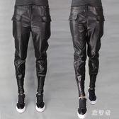小腳哈倫皮褲 女休閒秋冬新款大碼寬鬆顯瘦加厚高腰pu外穿 BF17991【旅行者】