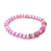 粉紅貓眼圓珠與捷克水鑽珠彈性手環