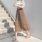 新款夏季雪紡半身裙花朵印花裙中長款開衩包臀裙子