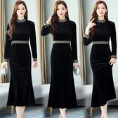 洋裝 8931#有女人味的連身裙氣質新款秋裝高端收腰顯瘦名媛HF303依佳衣
