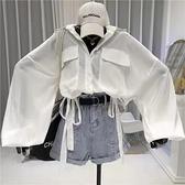 防曬衣~防曬燈籠袖襯衫女設計感下擺抽繩系帶顯瘦露臍高腰短上衣N510-A胖妹大碼女裝