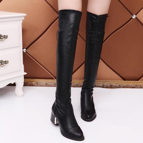 膝上靴  過膝長筒靴2020歐美顯瘦中跟高筒彈力皮靴加絨長靴