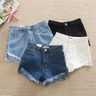 【中大碼】前短後長高腰牛仔短褲/熱褲 4色 2XL-5XL碼【KN71112】