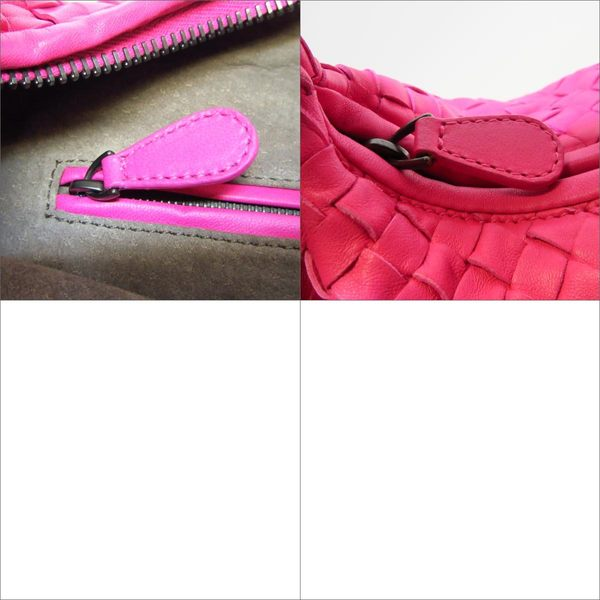 BOTTEGA VENETA BV 粉紅色編織羊皮肩背包 和尚包 彎月包 Veneta 【BRAND OFF】