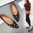 單鞋女平底百搭鉚釘尖頭淺口低跟四季鞋女鞋  黛尼時尚精品