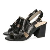 【ORiental TRaffic】時髦壓花皮革流蘇涼鞋-時髦黑