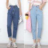 黑色高腰bf風牛仔褲女2019秋季新款寬鬆直筒長褲韓版顯瘦學生褲子