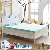 House Door 大和抗菌布套8cm記憶床墊優眠組-單大(水湖藍)