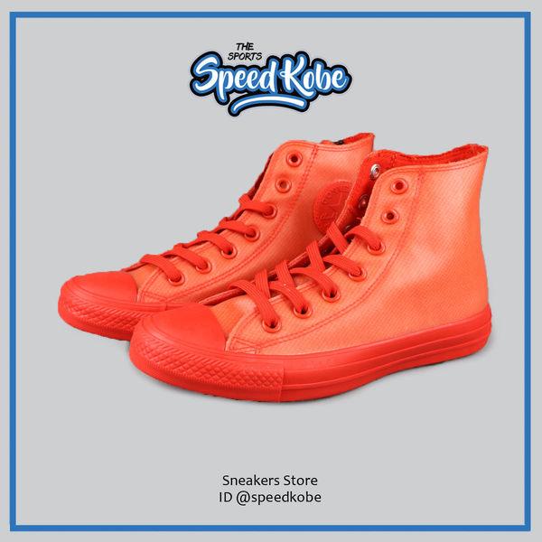CONVERSE 帆布鞋 All Star 防水 軟橡膠 高筒 雨鞋 橘紅 情侶鞋 男女 153802C【Speedkobe】