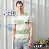 【JEEP】輕透條紋短袖TEE-葉綠色