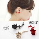 耳環 韓國時尚個性立體 玫瑰花朵前後 耳針耳環【1DDE0070】