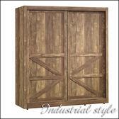 【水晶晶家具】班克6*6.6呎英國工業風雙拉門衣櫃JX8004-2