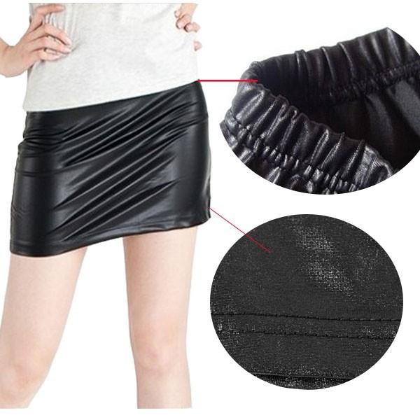 仿皮短裙 棉質包臀短裙 韓版 性感窄 版素色小迷你裙 米荻創意精品館