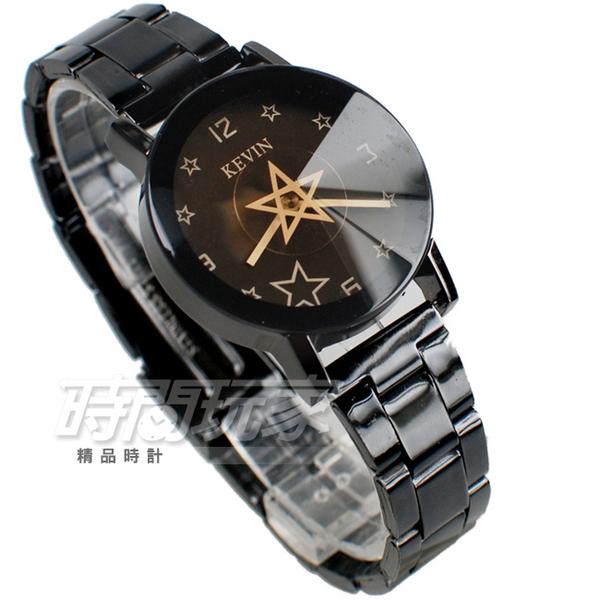 KEVIN 轉動星辰 造型時尚流行錶 立體多角切割鏡面 學生錶 防水手錶 IP黑電鍍 女錶 KV2068星黑小