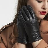 觸控手套 真皮-雙針背筯山羊皮加絨女手套73wm53【巴黎精品】