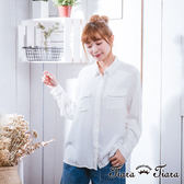 【Tiara Tiara】激安 寬版素色雙口袋背蕾絲拼接長袖襯衫(白/深藍)